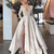 prom dresses 2021 deep v neck pleats long sleeve side slit