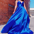 Royal Blue V-Neck Satin Long Prom Dress