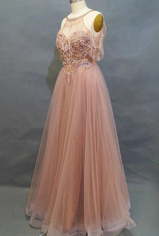 Elegant Beaded A-Line Dusty Rose Long Prom Dress