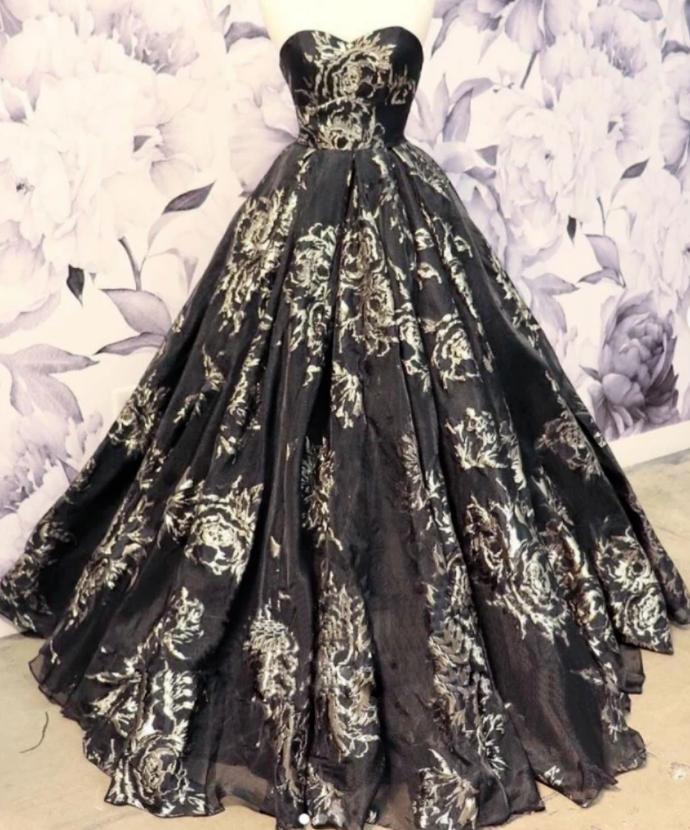 Black satin long prom dress, black evening dress