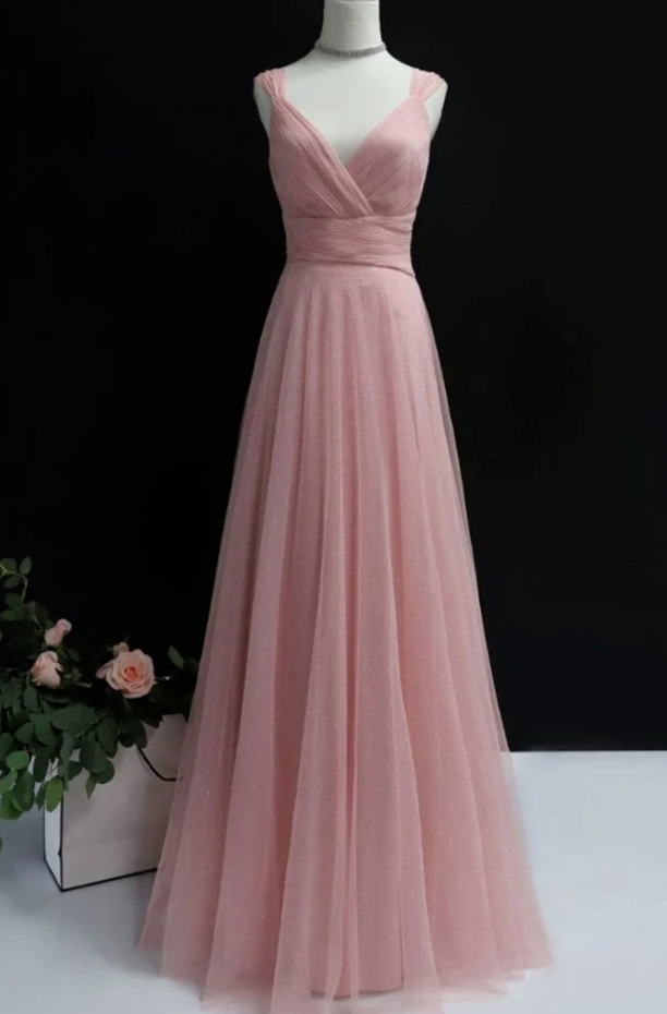 Simple  tulle long prom dress  tulle evening dress