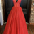tulle beads long A line prom dress evening dress