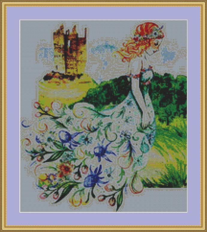 Flower Princess Cross Stitch Pattern