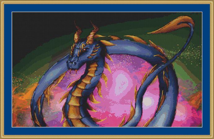 Blue Dragon Cross Stitch Pattern