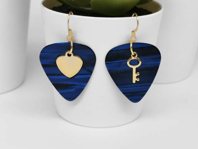 Dangling earrings made with picks and gold stainless steel charms