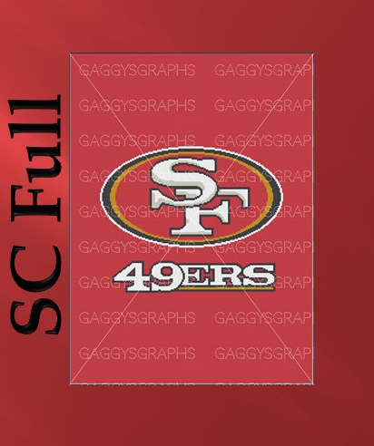 SF 49ers, SC Full Size, Graph + Written line by line color coded block pattern