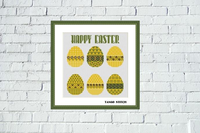 Happy Easter ornament cross stitch pattern