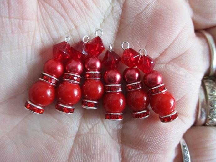 6 x Beaded Droplet Pendants - Please Choose