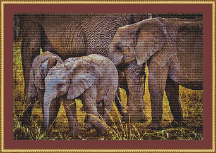 Baby Elephants Cross Stitch Pattern