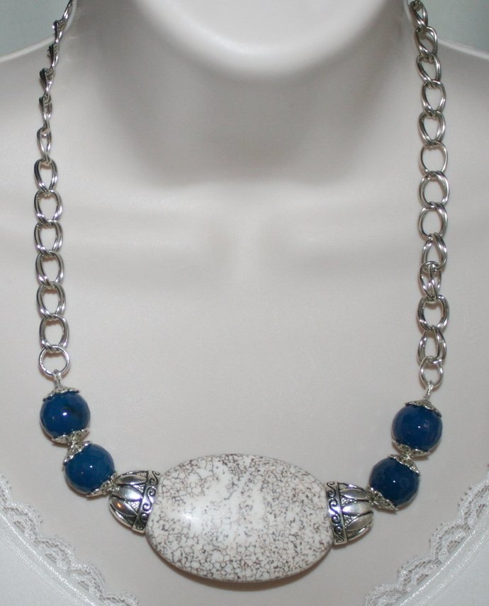 Big Chunky White Turquoise Magnesite Statement Necklace, Bold Blue Faceted Agate