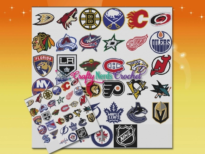 NHL CAL Active Teams Smaller Bundle Single Crochet SC Pattern Graph with Written
