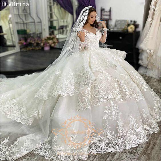 luxury lace applique wedding dresses ball gown princess off white elegant boho