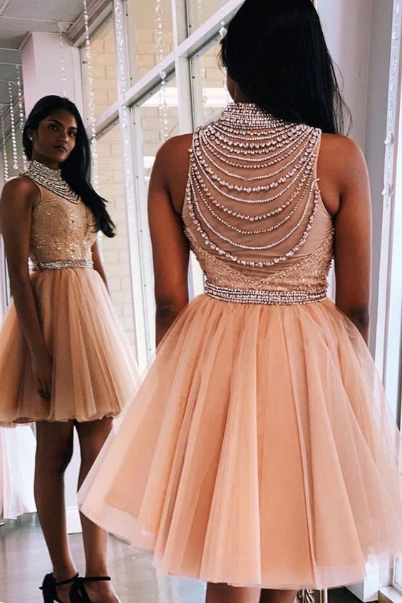 2021 homecoming dresses short beaded lace applique knee length pink prom dresses