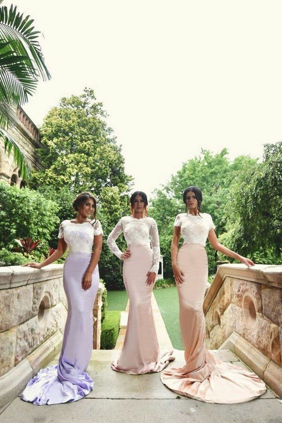 lace bridesmaid dresses long mermaid purple short sleeve elegant cheap wedding