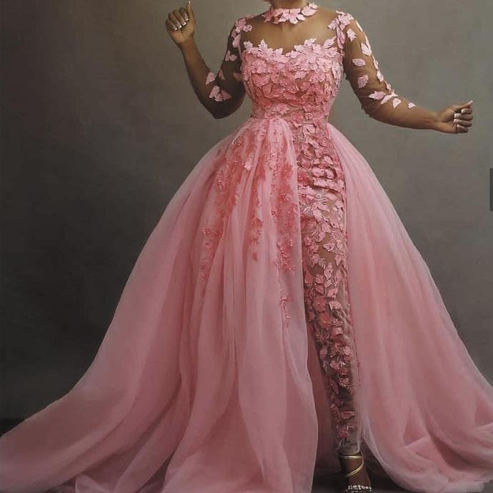 lace applique pink jumpsuit for women african evening dresses detachable skirt