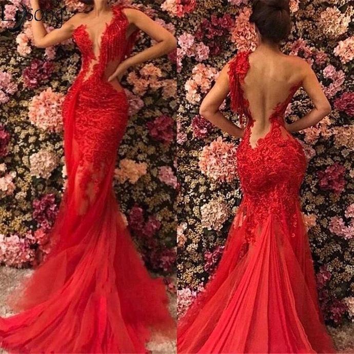 red lace applique evening dresses long tassel beaded mermaid elegant modest sexy