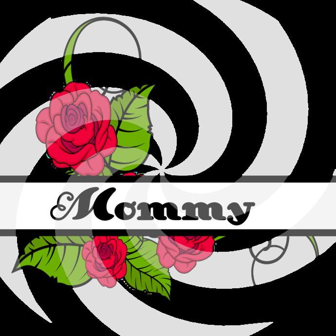 Flower Split Monogram Mommy 202smp-Digital Clipart-Art Clip-Gift