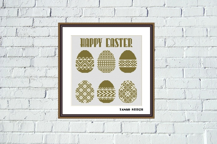 Happy Easter holidays ornament cross stitch pattern