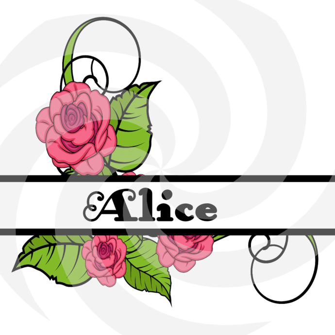 Flower Split Monogram Alice 204smp-Digital Clipart-Art Clip-Gift