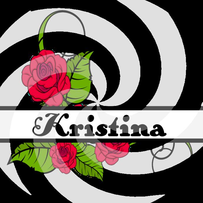 Flower Split Monogram Kristina 207smp-Digital Clipart-Art Clip-Gift