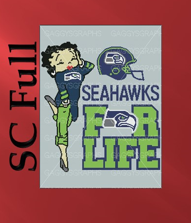 Betty Boop Seahawks For Life SC Full, Graph, Written Instructions with color