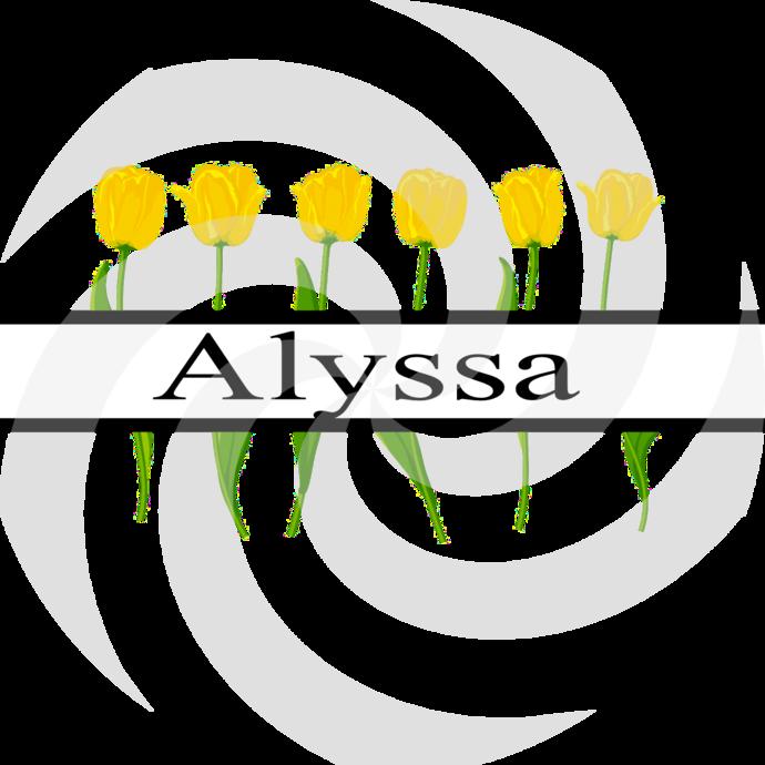 Flower Split Monogram Alyssa 300smp-Digital Clipart-Art Clip-Gift