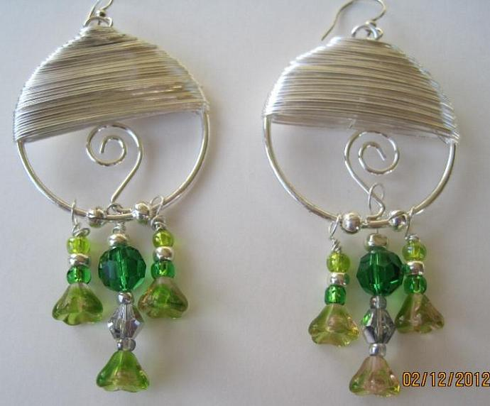 Spring Crystal Tourmaline & Wire Wrap Earrings