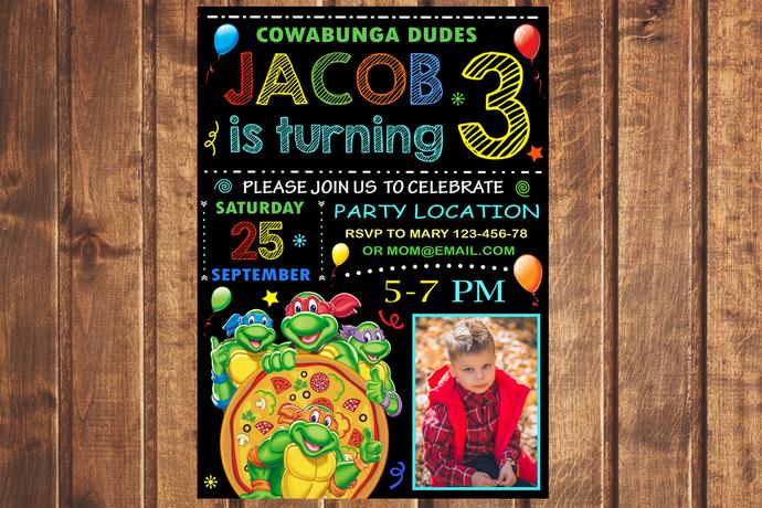 Ninja Turtles birthday invitation,TMNT Birthday Invitation,Birthday Party