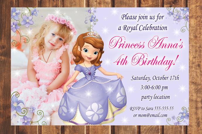 Princess Sofia the First birthday invitation,Birthday Party Invitation,Birthday