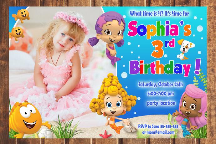 Bubble guppies birthday invitation,Birthday Party Invitation,Birthday Party