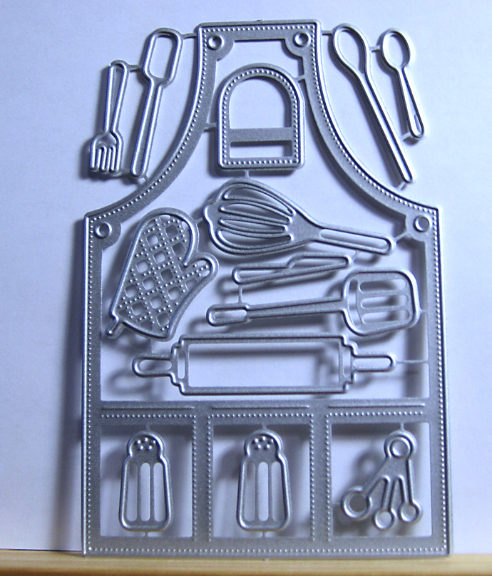 14pc Apron and Utensils Metal Cutting Die Set Dot Edge