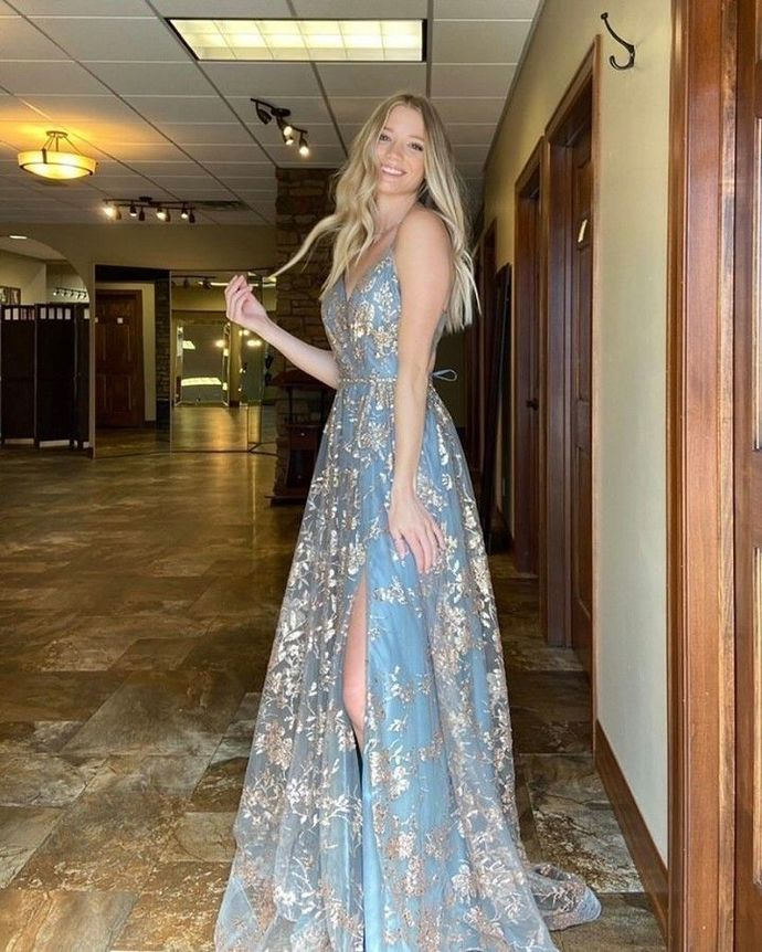 Charming Prom Dress,Lace Prom Gown,Spaghetti Straps Evening Dress,A-Line Prom