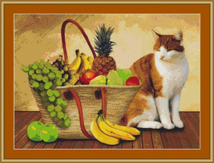 Cat By A Basket Of Fruit Cross Stitch Pattern