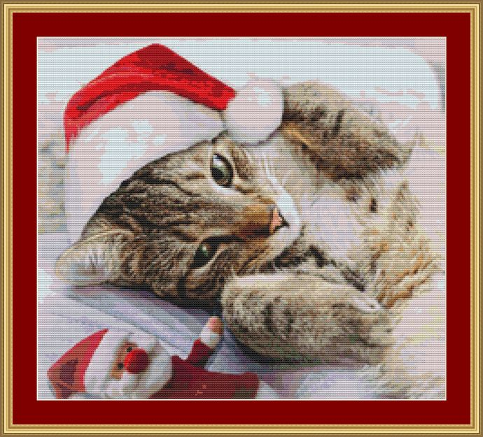 Christmas Cat Cross Stitch Pattern