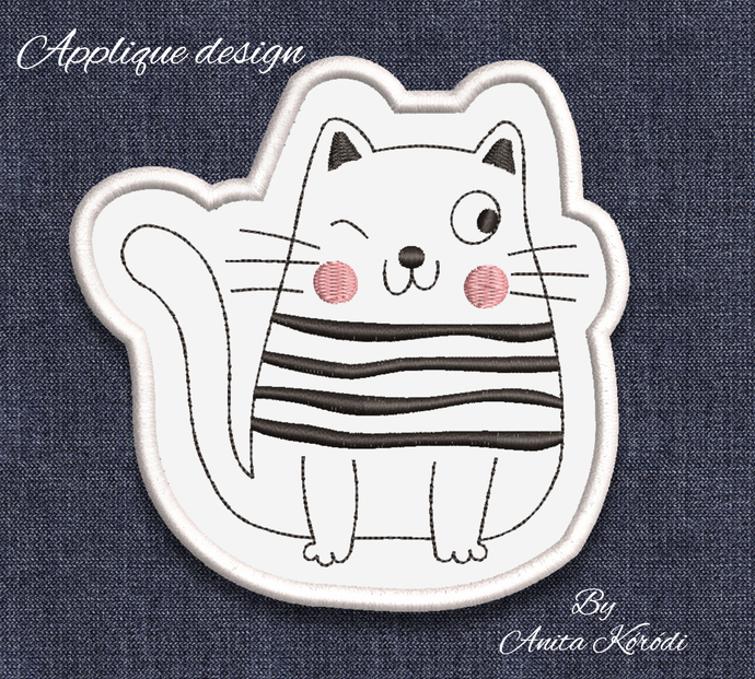 Funny cat embroidery machine designs pes applique file instant digital download