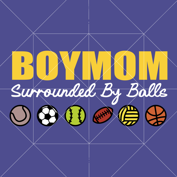 Boymom svg, Boymom vector, Surrounded by balls svg, Sports svg, Mother Svg,