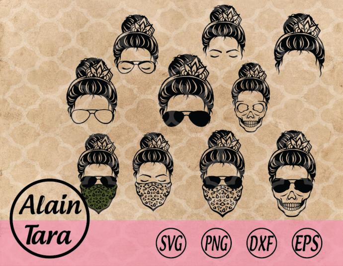 Momlife SVG,momlife,Messy bun hair svg,Kidlife svg, Matching Messy bun hair