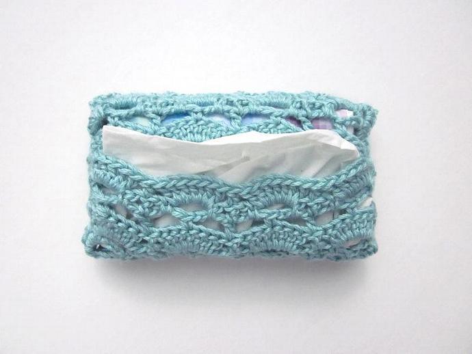 Handmade Crocheted Bamboo Travel-size Tissue Case