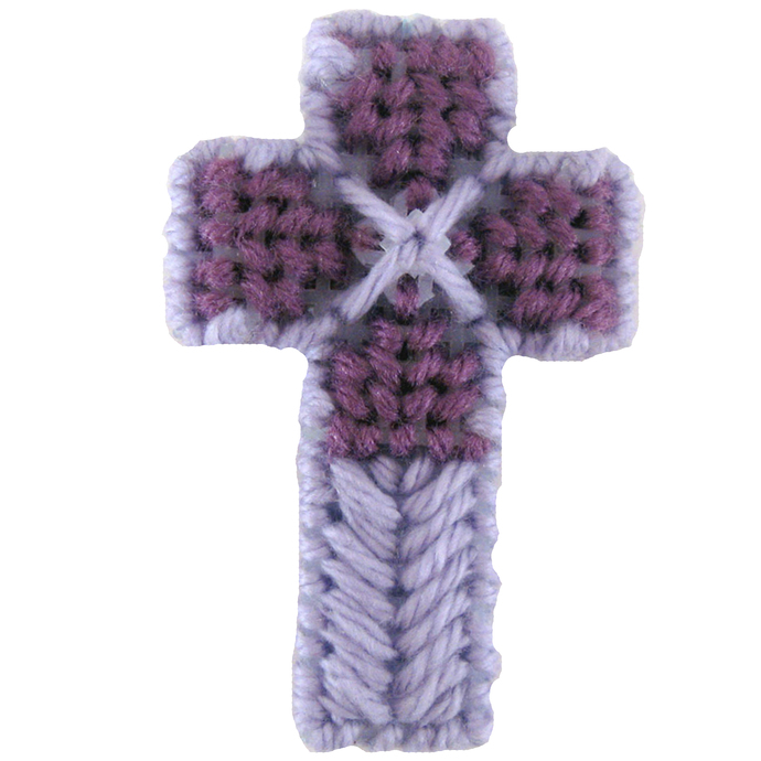 Purple Cross Ornament Christian decorated double sided