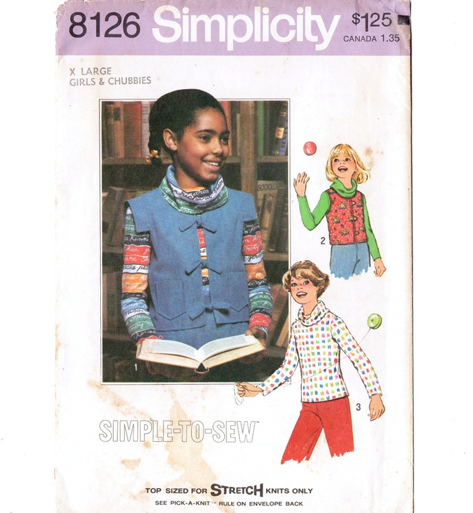 Simplicity 8126 Girls Cowl Top, Vest 70s Vintage Sewing Pattern Uncut Size XL
