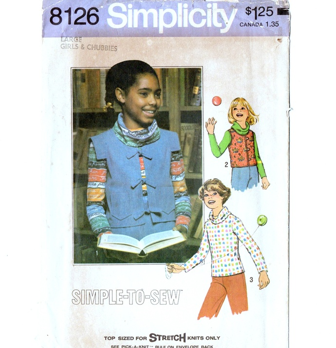 Simplicity 8126 Girls Cowl Top, Vest 70s Vintage Sewing Pattern Size Large Bust
