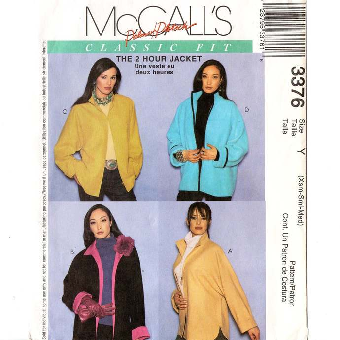 McCall's 3376 Misses 2 Hour Jacket Vintage Sewing Pattern Uncut Size XS, S, M 4
