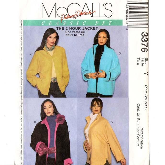 McCall's 3376 Misses 2 Hour Jacket Vintage Sewing Pattern Uncut Size XS, S, M 4