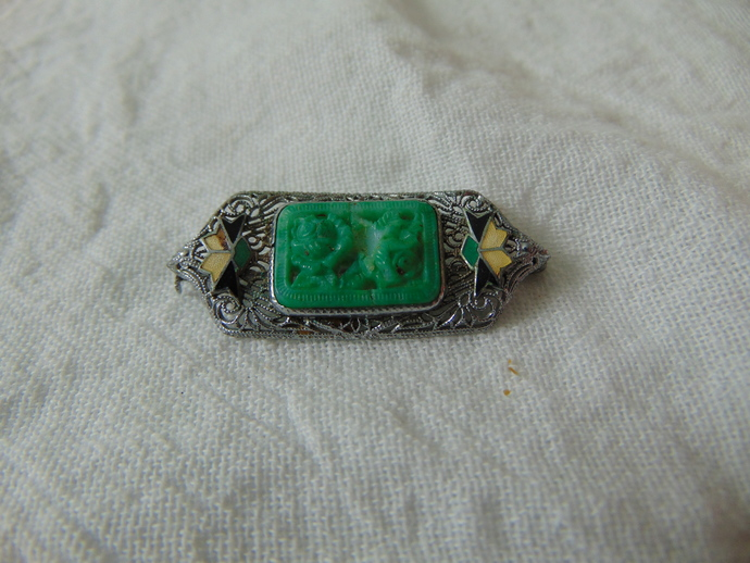 vintage art deco peking glass enamel silver filigree pin