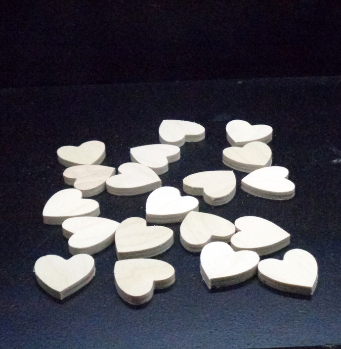 Pkg of 19 Hearts 1.25 x 1.25 x .25 in.  Unfinished Wood Cutouts WCO-54-25