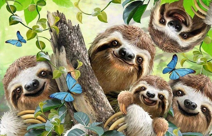 SLOTH FAMILY XSTITCH KIT