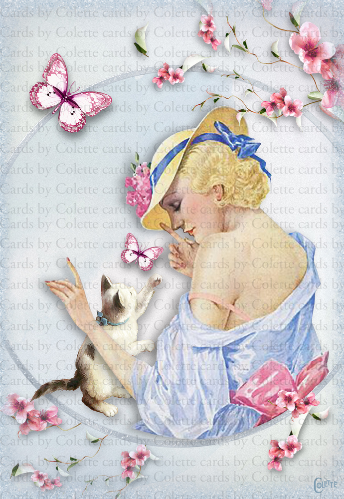 Beauty and Kitten Digital Collage Greeting Card3376