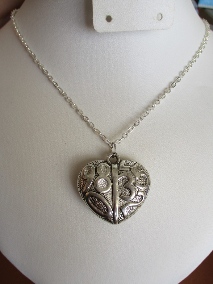 Heart Shaped Number Necklace - Handmade