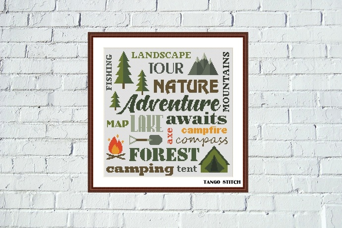 Camping words lettering cross stitch pattern