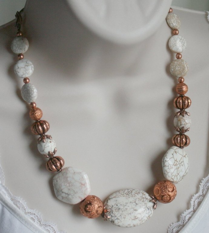 White Turquoise with Copper Statement Necklace, Chunky Magnesite Southwestern